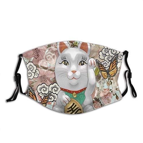 Bufanda de la Cara de la Boca Japonesa Maneki Neko Figura ilustración Unisex Bufanda de Cara Lavable y Reutilizable para al Aire Libre