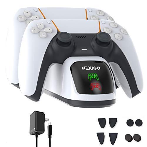 NexiGo PS5 DualSense Ladestation, Schnelllade-AC-Adapter mit Daumengriffen & Trigger-Verlängerungen, Controller-Ladegerät für Dual Playstation 5 Controller, Ladestation mit LED-Anzeige, Weiß