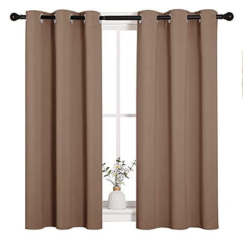 NICETOWN Blackout Window Curtains and Drapes for Kitchen, Window Treatment Thermal Insulated Solid Grommet Blackout Drapery Panels (Set of 2, 34 by 45 inches, Cappuccino)
