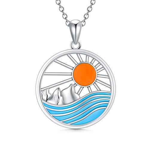ROMANTICWORK - Collar de plata de ley con colgante de sol y puesta del sol en el océano, joyería de la naturaleza, regalos de cumpleaños para amantes de la naturaleza