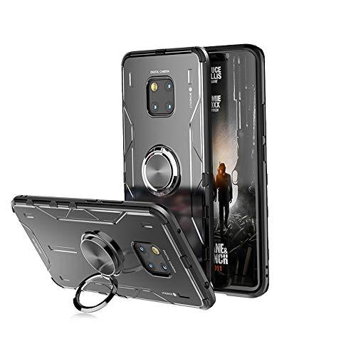 """Jonwelsy Funda para Huawei Mate 20 Pro (6,39""""), Shockproof Flexible Silicona Carcasa + Aleación de Aluminio Cover con Rotación de 360 Grados Anillo iman Kickstand para Huawei Mate 20 Pro (Negro)"""