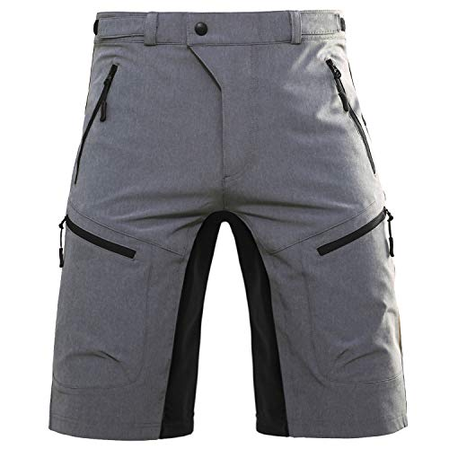 Hiauspor Mens Mountain Bike Baggy MTB Loose Fit Biking Cycling Shorts with Pockets, Grey, L