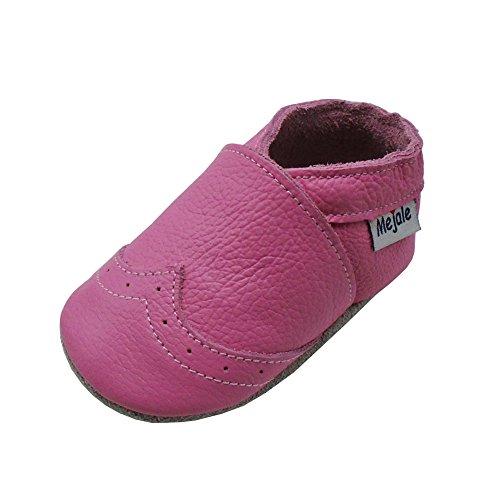Mejale Weiche Sohle Leder Babyschuhe Lauflernschuhe Krabbelschuhe Kleinkind Kinderschuhe Hausschuhe(Rosa,0-6 Monate)