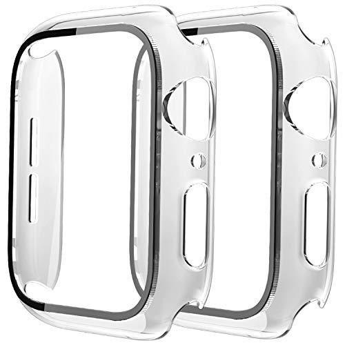 Fengyiyuda Cover[2-Pezzi] Compatibile con Apple Watch Custodia 38/40/42/44mm con Anti-Bubble TPU Pellicola Protettiva,360 Rugged Case per IWatch Series se/6/5/4/3/2/1-Clear/Clear,42mm