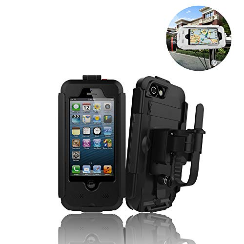LXYDD Bike Phone Holder Universal Adjustable Motorbike Phone Holder, Touchscreen Pouch Bag,Works Seamlessly Super Waterproof Motorcycle Phone Mount Stand for Phone,Black,iPhone X