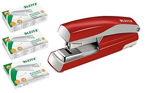 Leitz 55230025 Flach-Heftgerät (40 Blatt, Ergonomisches Metallgehäuse, Inkl. Heftklammern, Nexxt | rot | mit 3000 Klammern)