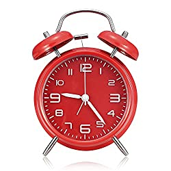 Vintage Analog Alarm Clock for Heavy Sleepers,4 inch Twin Bell Alarm Clock for Bedroon, Bedside, Desk,nightlight,Battery Operated, Stereoscopic Dial(RED)