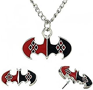 Harley Quinn Pattern on Batman Symbol Pendant & Earring Set Red, Black