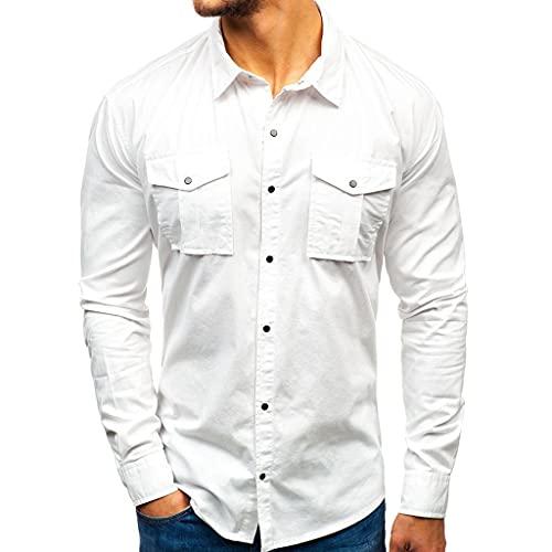 HUDUO Camisa De Carga Informal para Hombres, Camiseta De Algodón De Manga Larga con Múltiples Bolsillos Camisa De Vestir De Estilo Europeo Y Americano,White-3XL