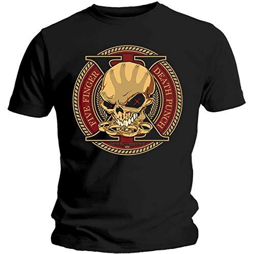 Five Finger Death Punch Decade of Destruction Camiseta, Negro (Black Black), Medium para Hombre