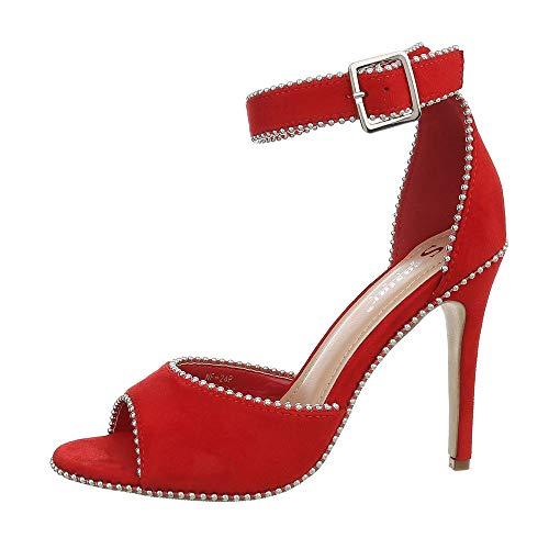 Ital Design Damenschuhe Sandalen & Sandaletten High Heel Sandaletten Synthetik Rot Gr. 36