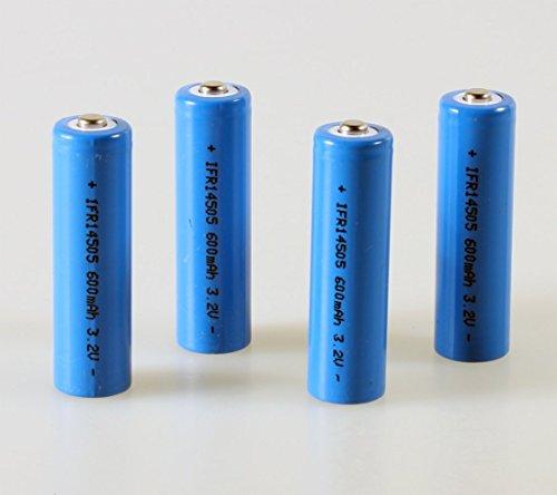 LiFePo4 IFR 14505 Akku AA 4er Set 600mAh 3,2V 14500 Button Top Batterie Lithium-Eisen-Phosphat Akku Solar Flat-Top Batterie