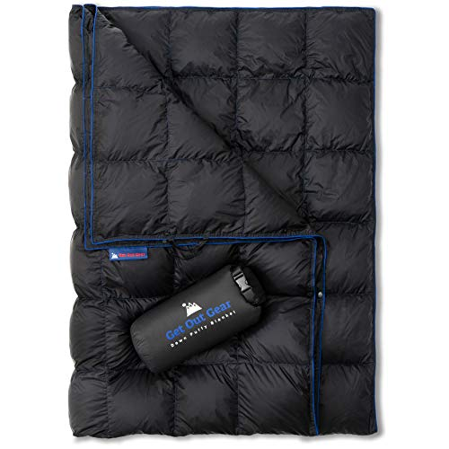 Get Out Gear Down Camping Blanket - Outdoor Lightweight Packable 650 Fill Power Down Blanket Compact...
