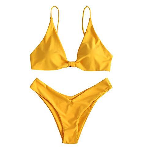 ZAFUL Conjunto de Bikini Push Up con Relleno Nudo Delantero Gancho Trasero Talle Alto en Color Liso