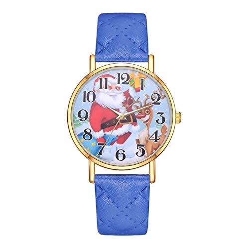 GJHBFUK Reloj Niño Reloj para Niños Reloj De Cuarzo con Correa De PU para Hombre Y Mujer con Diseño De Ciervo Informal, (Azul)
