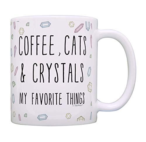 N\A Amante de café Taza de la Bruja de los Gatos y los Cristales Mi Cosas preferidas de la Nueva Era del Gato Taza de café Taza de té de múltiples