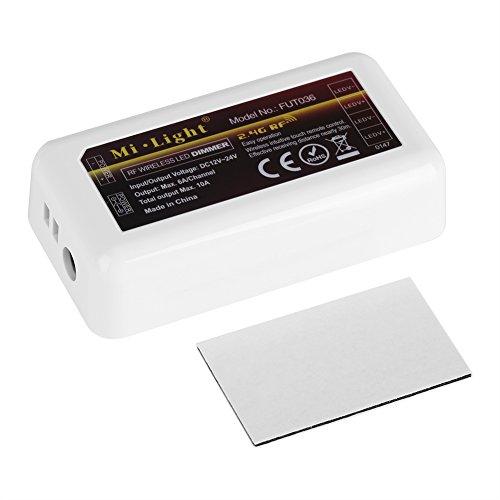 Hztyier Milight 2,4 GHz 12-24 V LED lichtstrip controller 4 zones WW CW veiligheid energiebesparende, monochrome draadloze controller