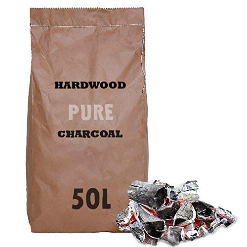 AMOS 100% Natural Wood Charcoal 50L Pure Lumpwood Smokeless Restaurant Grade Fuel for BBQ Barbecues Grills