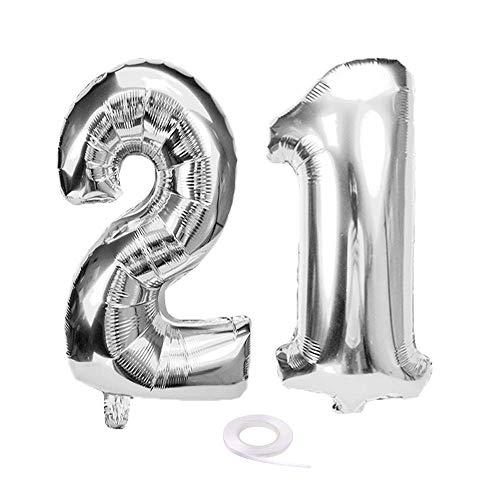 SNOWZAN Globo de 21º cumpleaños plateado niña niño número 21 globo gigante de helio número 21 globos grandes números 21 años XXL 21 cumpleaños para fiesta