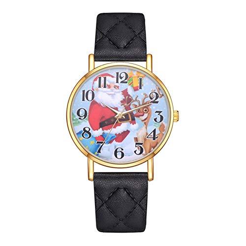 GJHBFUK Reloj Niño Reloj para Niños Reloj De Cuarzo con Correa De PU con Diseño De Ciervo Lindo para Hombres Y Mujeres, (Negro)