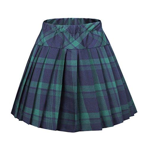 Women's Elastic Waist Plaid Pleated Skirt Tartan Skater School Uniform Mini Skirts (Small, Series 1 Green)