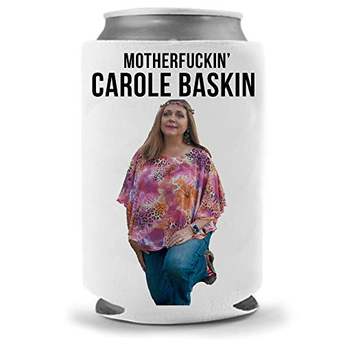 Cool Coast Products | Carole Baskin Meme Beer Coolies | Funny Tiger King Joe Exotic Parody - Big Cat Funny Beer Can Coolies | Neoprene Insulated | Beverage Cans Bottles (Carole MF)