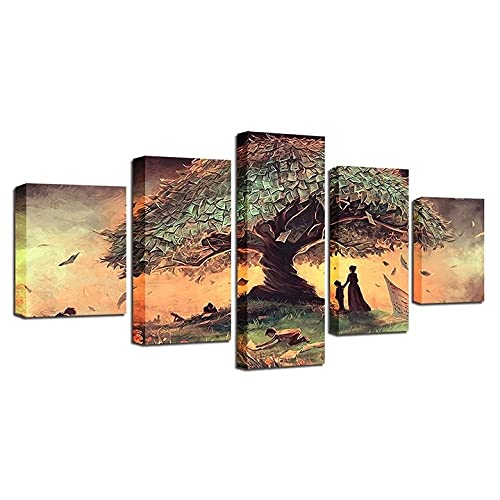 VYQDTNR - 5 Panel Large Canvas Prints Wall Art Surreal Fantasy Picture Poster Modern Wall Decor Home Decorations Stretched and Framed Canvas Gallery Wrapped Print Ready to Hang