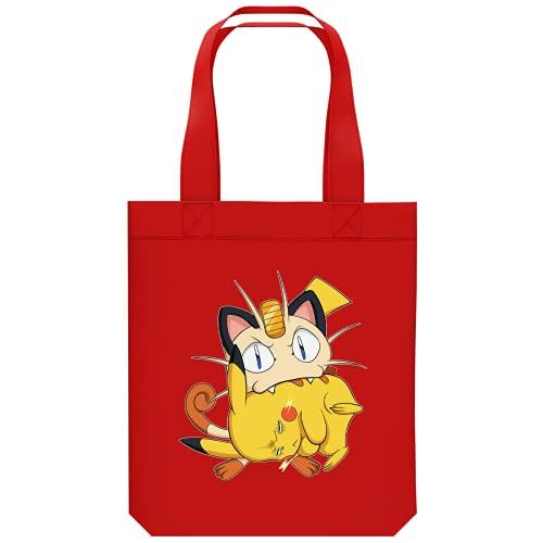 Okiwoki Sac de Shopping en coton Bio parodie Pokémon - Pikachu et Miaouss - Le jeu du Chat et la Souris :(Tote Bag de qualité supérieure - imprimé en France)