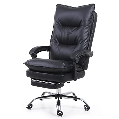Office Executive Desk Chair with Footrest, 400lb Capacity with Soft Seat Cushion, Adjustable Swivel Ergonomic Task Chair with Lumbar Support, Bonded Leather (Black)