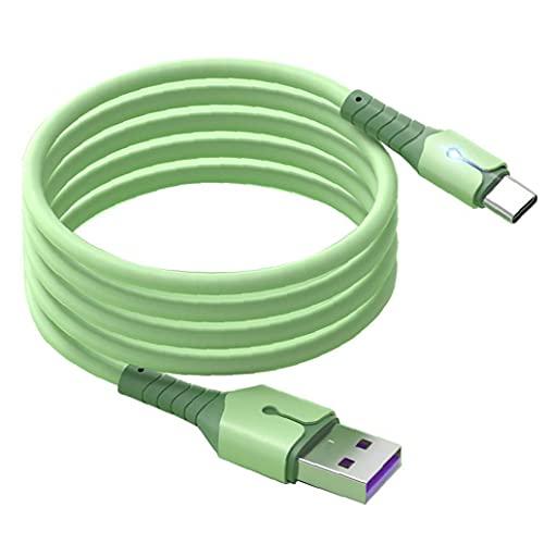 Hainice Tipo C de Carga USB Cable de Silicona líquida 1m Cargador Micro 5A Cable de Carga rápida de Cables de Datos con indicador de luz Verde para teléfonos móviles