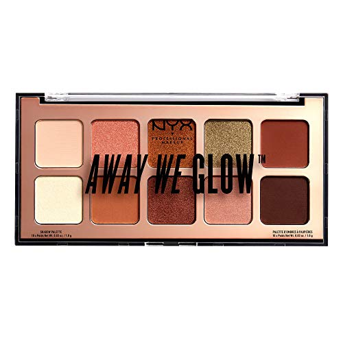 NYX Professional Makeup Away We Glow Shadow Palette - hochwertige Lidschattenpalette, 10 intensive Farben, hohe Deckkraft, 10x 1,0g, Hooked on Glow 02