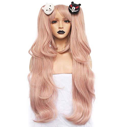 Abbycavally Perücke für Junko Enoshima Cosplay Rosa Lang Locken mit x2 Ponytails Lolita Synthetische Perücken für Damen Mädchen Anime Kostüm-Party mit Haarschmuck AL001