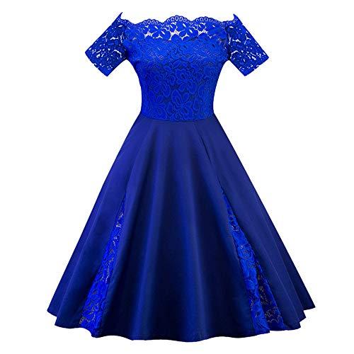 Amphia - Damen große Größe einfarbig Spitze Nähen sexy Spitze EIN-Schulter-Kleid,Frauen Plus größe Feste Spitze Patchwork Kurzarm Party cocktailkleid(Blau,XXXXXL)