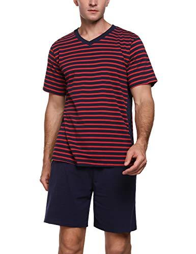 Akalnny Pijama Corto Hombre Verano con Manga Corta Conjunto de Pijama de Algodón Hombre con Bolsillos Ropa de Dormir Estar por Casa Suave Cómodo