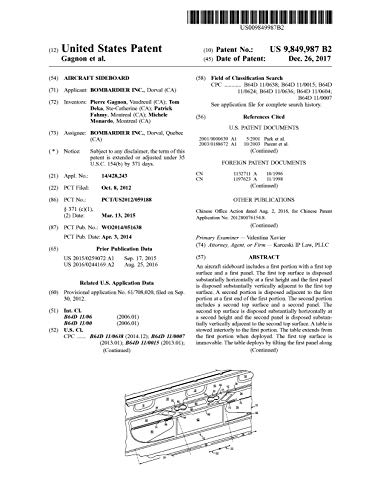 Aircraft sideboard: United States Patent 9849987 (English Edition)