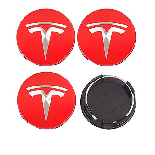 4pcs 56mm Cubiertas tapacubos de rueda de coche, por Tesla Model S X3 Y 2018 2019 2020 2017 2021 2022 (Rojo Plata) Roadster Accesorios del casquillo del centro de Llantas AutoTyre Decoración Hub