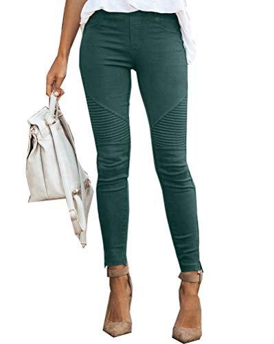 Onsoyours Jeans Damen Skinny Jeans Denim High Waist Slim Leggings Röhrenjeans Bleistifthose Bleistift Hose Grün Large