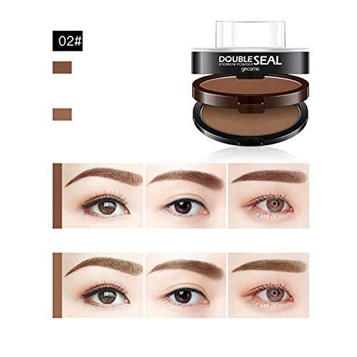 3 Schablonen Augenbrauen-Stempelkit Augenbrauenpuder, wasserdichtes Augenbraue-Tönungs-Farbtonset Zarte geformte Stirnpuder (02 Hellbraun + Hellbraun)