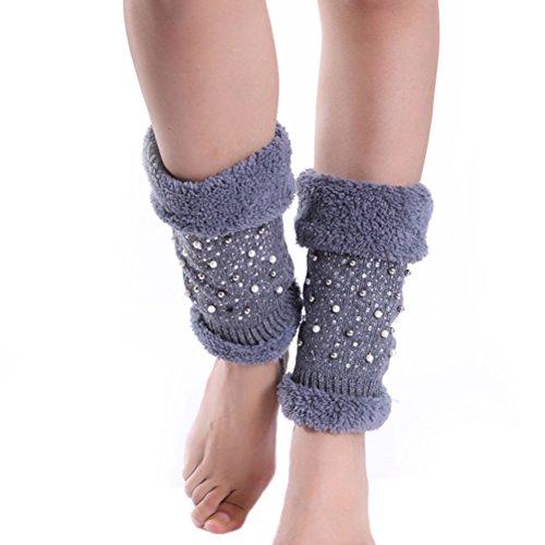 Nanxson Damen Winter Warm Socken Stulpe kurz Beinstulpe Strumpf Beinlinge mit dekorativen Perlen TTW0026