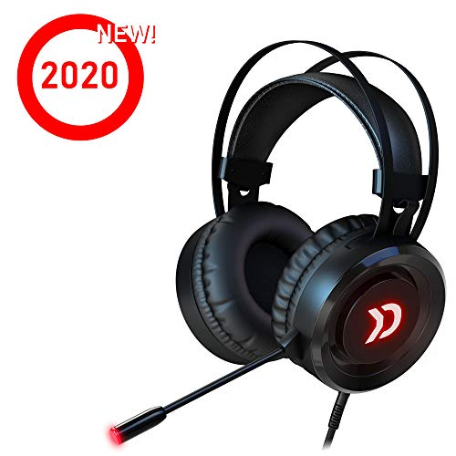 Oxyde Raw - Cuffie da gioco per PS4/PC/Switch/Mac con suono surround 7.1 virtuale con microfono anti-rumore e controllo del volume, LED rosso, cavo USB, versione 2020