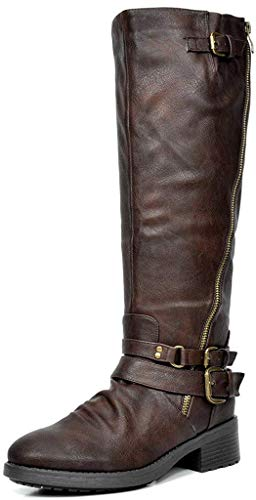 DREAM PAIRS Women's Atlanta Brown Fur Lined Knee High Riding Boots Size 5 M...