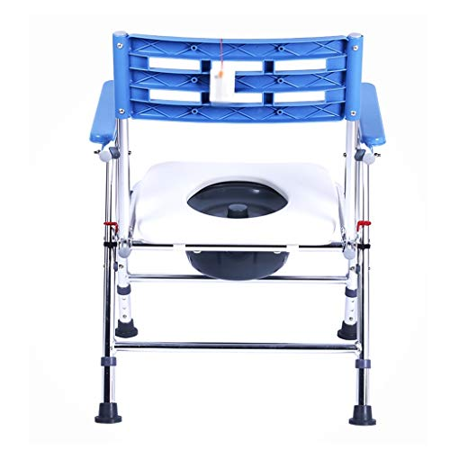 Silla de WC móviles for la cabecera de ancianos plegable del asiento blando y duro asiento superficie antideslizante portátil, 150 kg Teniendo Inodoro móvil portátil (Color : Soft seat surface)