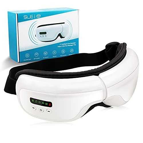 SLE Masajeador de Ojos, Masajeador Ocular Plegable con Presión de Aire, Compresión del Calor y Bluetooth Música para Aliviar la Tensión Ocular Ojos Secos Mejorar el Sueño