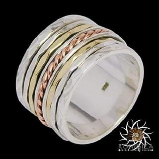 Spinner Ring - Meditation Ring - Anti Stress Ring - Three Metal Rings - Multi Metal Ring - Mixed Metal Ring - Silver Ring - Unisex Ring - Yoga Ring - Ring Size US10