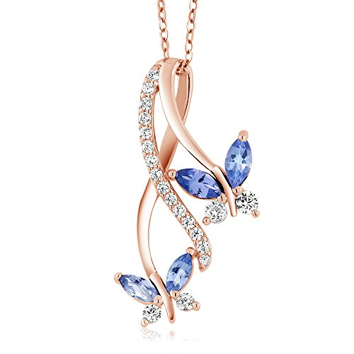 Gem Stone King 1.21 Ct Marquise Blue Tanzanite 18K Rose Gold Plated Silver Butterfly Pendant
