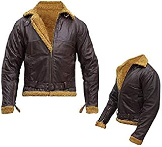 Men's Aviator RAF B3 Ginger Shearling Flight Pilot Sheepskin Leather Bomber Jacket