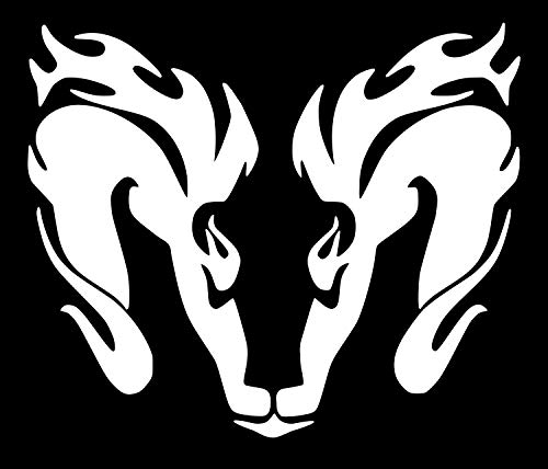 UR Impressions Ram Head Fire Horns Tribal Style Decal Vinyl Sticker Graphics for Cars Trucks SUV Vans Walls Windows Laptop|White|7 X 5.5 inch|URI188