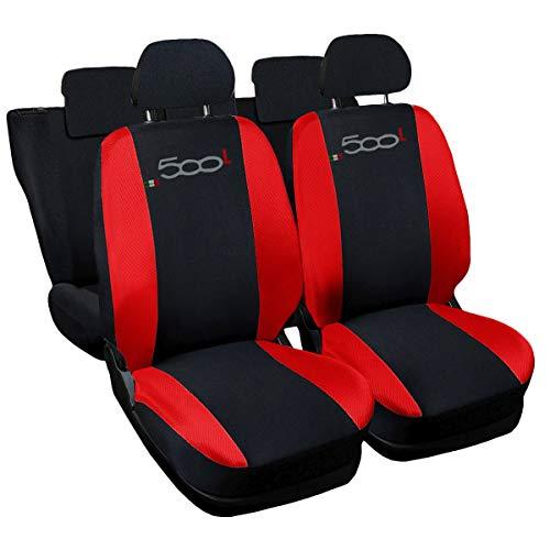 Lupex Shop RN Coprisedili compatibili 500L, Nero/Rosso, Set di 6