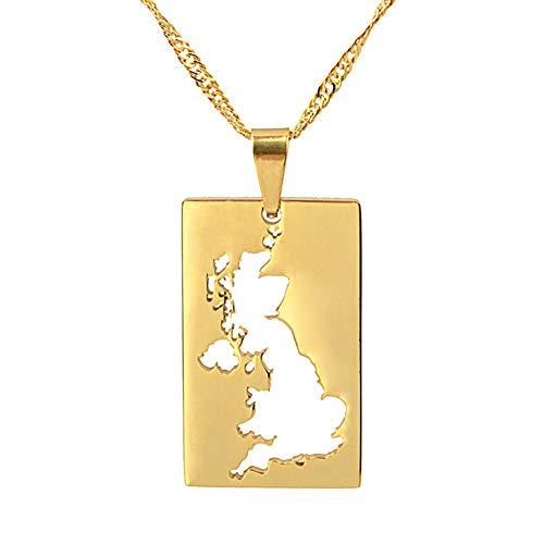 YOUHU Collar Mujer Mapa,Vintage Reino Unido País Mapa Colgante Cuadrado Dorado Mapa...