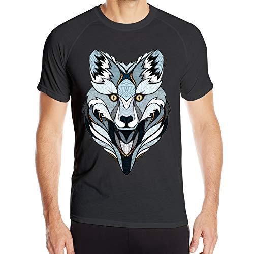 WAUKaaa Wolf Cartoon Funny Animal Logo Hombres Athletic Performance Workout Gym Camiseta de manga corta cuello redondo S
